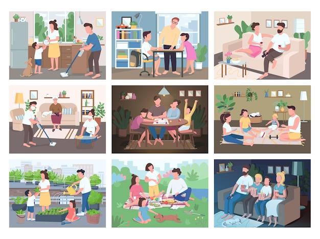 Familienroutine flaches farbset. unterhaltung für eltern und kinder. mutter und vater erledigen hausarbeiten mit kindern. kinder spielen spiele. verwandte 2d-zeichentrickfiguren