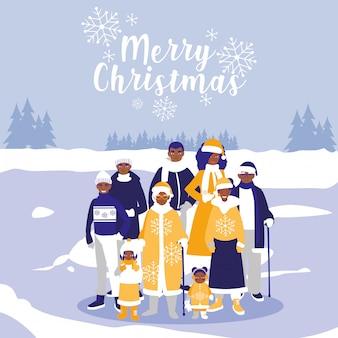 Familienschwarzes mit kleidungsweihnachten in der winterlandschaft