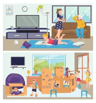 Familienset mann frau menschen charakter bei cartoon nach hause,
