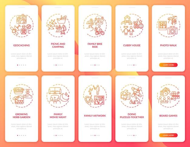 Familienspaß onboarding mobile app seite bildschirm mit konzepten festgelegt. outdoor-familiensportaktivitäten. exemplarische vorgehensweise für familientipps 10 schritte grafische anleitung. ui-vorlage mit rgb-farbabbildungen