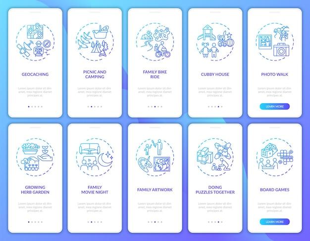 Familienspaß onboarding mobile app seite bildschirm mit konzepten festgelegt. spielaktivitäten im freien. walkthrough zur familienzusammengehörigkeit 10 schritte. ui-vorlage mit rgb-farbabbildungen