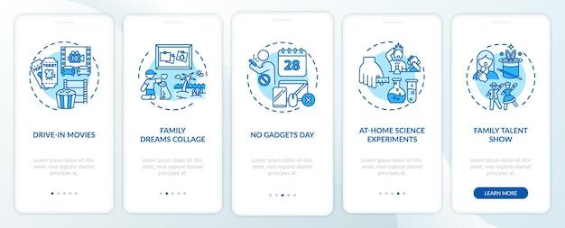 Familienspaßideen, die den seitenbildschirm der mobilen app mit konzepten einbinden. familienfoto träume collage komplettlösung 5 schritte. ui-vorlage mit rgb-farbabbildungen