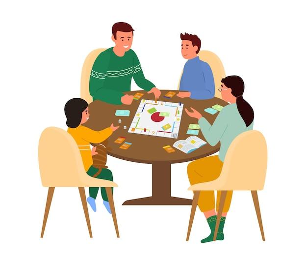 Familienspiel brettspiel am tisch zu hause.