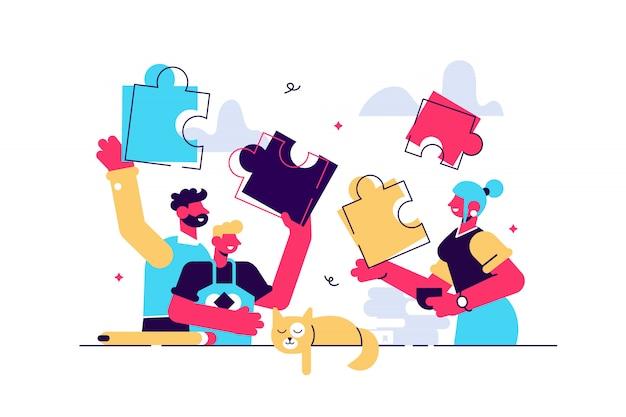 Familienspielillustration. winziges zusammengehörigkeits-aktivitäts-personen-konzept. spaß, warm und glücklich eltern oder kindheit lebensstil. verspieltes und positives unterhaltungsspiel, um gruppenbeziehungen zu verbinden.