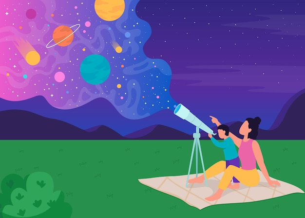 Familiensternbeobachtung mit flacher farbillustration des teleskops