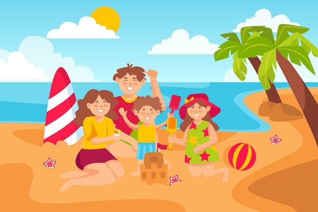 Familienstrandurlaub. junge familie mit glücklichen kindern, die auf sandstrand, sommer-küstenkarikaturillustration sonnenbaden