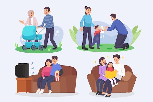 Familienszenen im flachen design