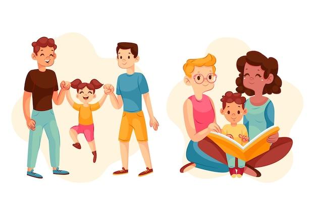 Familienszenen mit farbverlauf