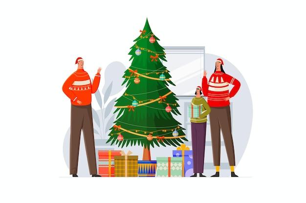 Familientreffen zu weihnachten mit familienillustration