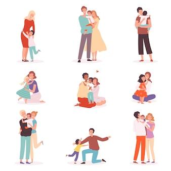 Familienumarmung. glückliche eltern, die lächelnde kinder umarmen