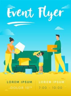 Familienumzug und packen dinge flyer vorlage