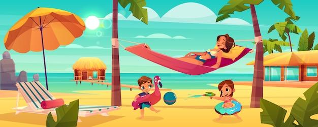 Familienurlaub auf tropischem erholungsortkarikaturvektor mit der glücklichen entspannenden mutter