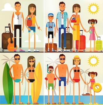 Familienurlaub, familie bei einem flughafentransit und entspannen am strand.