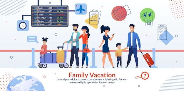 Familienurlaub-flugzeug-reisendes anzeigen-plakat