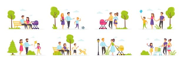 Familienurlaub im park mit personencharakteren in verschiedenen szenen und situationen.