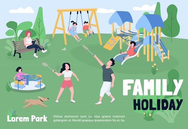 Familienurlaub in parkfahnenschablone. broschüre, plakatkonzept mit comicfiguren. erholung im freien, horizontaler flyer des kinderspielplatzes, flugblatt mit platz für text