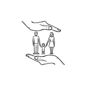 Familienversicherung hand gezeichnete umriss-doodle-symbol