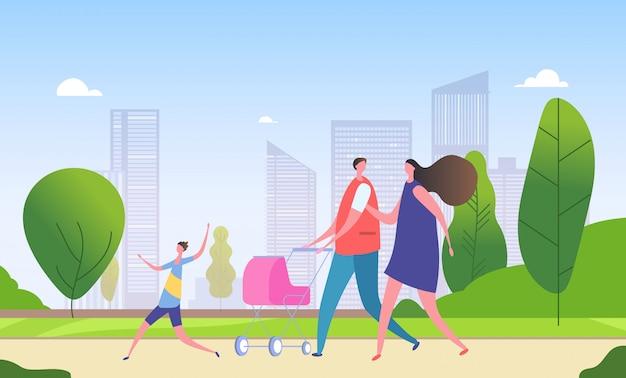 Familienwandernde stadtstraße. cartoon mutter, vater und kinder zusammen im stadtbild. wochenende in stadtillustration