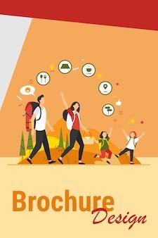 Familienwanderung oder standort-app-konzept. vater, mutter und kinder gehen im freien, tragen rucksäcke und picknickkorb. vektorillustration für camping, abenteuerreisen, aktive wandererthemen