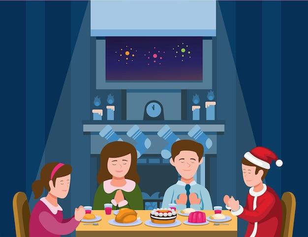 Familienweihnachtsessenfamilie, die vor dem essen im weihnachts- oder neujahrsvektor betet
