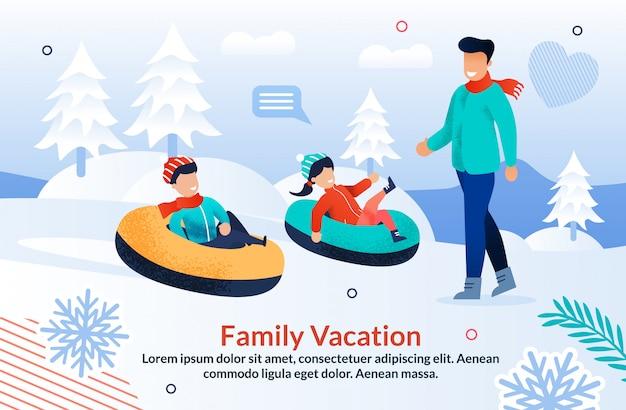 Familienwinterurlaub motivation flache vorlage