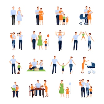 Familienzeichensatz mit eltern und kindern