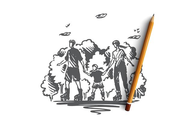 Familienzeit, aktiv, roller, zusammen konzept. hand gezeichnete mutter, vater und kind, die auf rollenkonzeptskizze skaten.