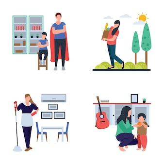 Familienzeit, hausfrau, flat icons pack