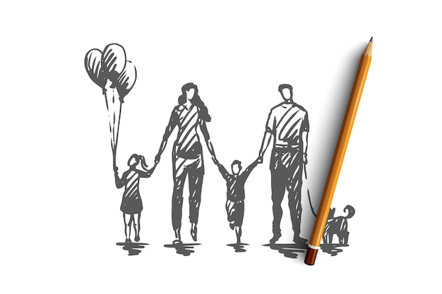 Familienzeit, mutter, kinder, glücklich, vaterkonzept. hand gezeichnete glückliche familie, die außerhalb der konzeptskizze geht.
