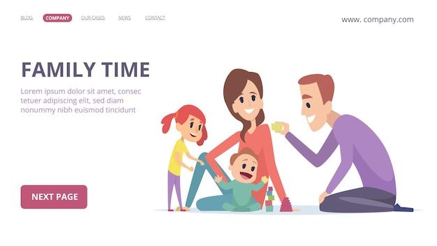 Familienzeit. nette cartoon eltern und kinder. glückliches mädchen, baby, mutter und vater.