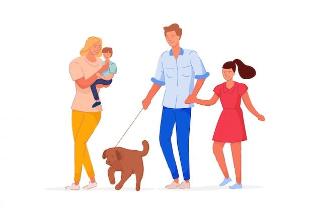 Familienzeit zusammen auf spaziergang auf weiß