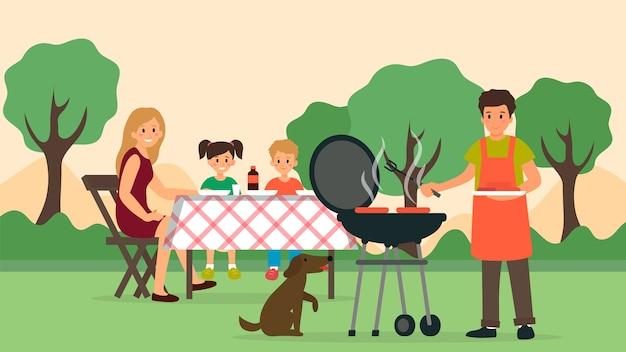 Familienzeitkonzept. glückliche familie bei einem picknick. vater bereitet einen grill im hinterhof vor. flacher stil. vektorillustration.