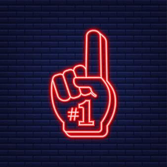 Fan-logo-hand mit dem finger nach oben. hand oben mit nummer 1. neon-symbol. vektor-illustration.
