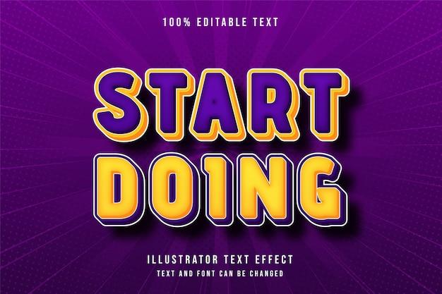 Fangen sie an, 3d bearbeitbaren texteffekt gelbe abstufung orange lila modernen comic-stil