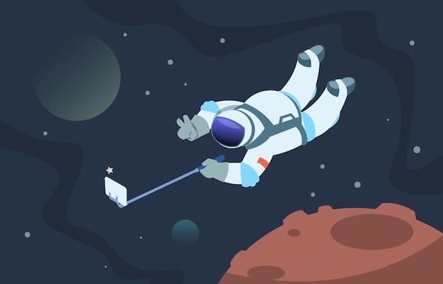 Fanny kosmonaut, der fotos im raum auf smartphone nimmt
