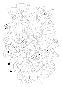 Fantasie blüht knospen und eine libelle kunstlinie malvorlagen illustration