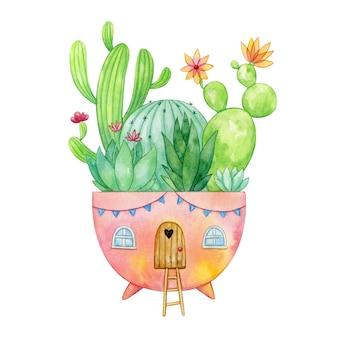 Fantasie blumentopf haus mit kaktus und sukkulenten. aquarellillustration des eingetopften grüns