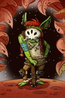 Fantasie-cartoon-troll komische art-konzeptkunst der spielcharakter-illustration