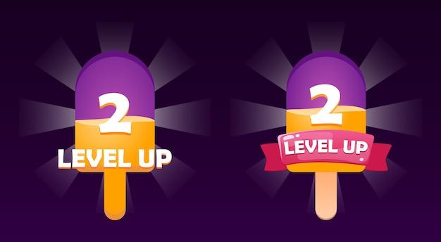 Fantasie lustige gui level up icon-oberfläche im eiscreme-stil für spiel-ui-asset-elemente