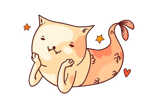 Fantasie meerjungfrau katze. lustige meerjungfrau katzenfisch cartoon charakter skizze zeichnung. niedliche lächelnde fantasie tier dekorative gekritzel kunst