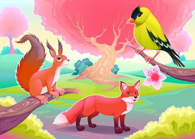 Fantasie natürliche landschaft mit lustigen tieren vektor-cartoon-illustration