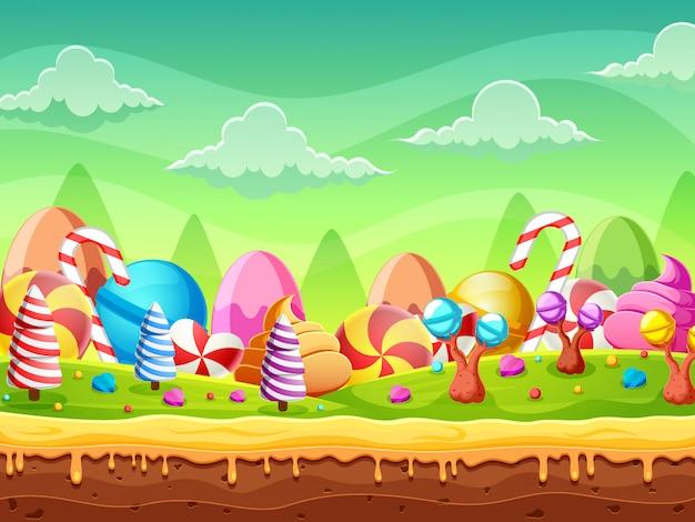 Fantasie-süßes süßigkeitslandpanorama