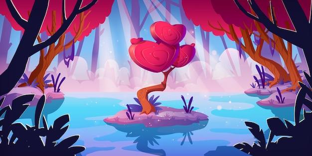 Fantasiebaum mit herzformkrone im waldsumpf. vektorkarikaturlandschaft mit magischem roten pilz, ungewöhnlicher romantischer baum. märchenspielhintergrund mit liebeskonzept