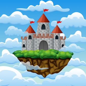 Fantasiefliegeninsel mit märchenschloss in den wolken