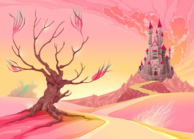 Fantasielandschaft mit schloss cartoon vektor-illustration