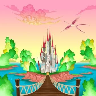 Fantasielandschaft mit schloss in mir irgendwo vektor-illustration