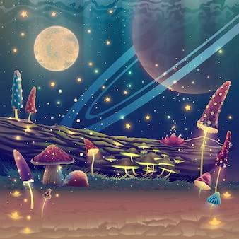 Fantasiepilzgarten oder zauberpark mit mondillustration über nachtwaldlandschaft