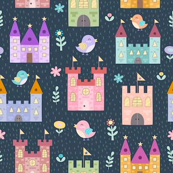 Fantasieschlösser und nahtloses muster der kleinen vögel. textur im kindlichen stil