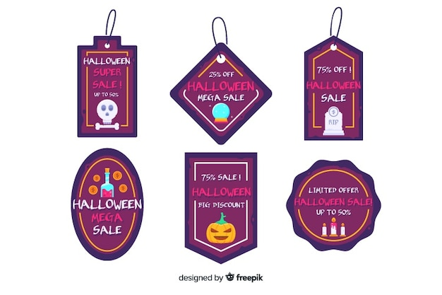 Fantastische abzeichen für flache halloween-verkaufssammlung