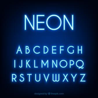 Fantastische alphabete der blauen leuchtstoffröhren